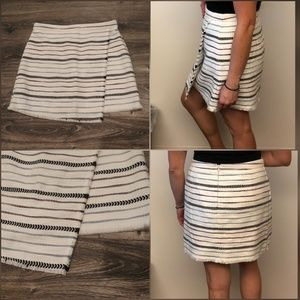 Striped Fringe Wrap Skirt, Whisper White